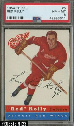 1954 Topps Hockey  5 Red Kelly Detroit Red Wings HOF PSA 8 NM-MT 19e621750f84
