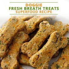 Superfood Doggie Fresh Breath Treats Recipe #superfoods #doggietreats #dogfood Puppy Treats, Diy Dog Treats, Homemade Dog Treats, Healthy Dog Treats, Healthy Food, Gourmet Dog Treats, Healthy Pets, Healthy Recipes, Dog Biscuit Recipes
