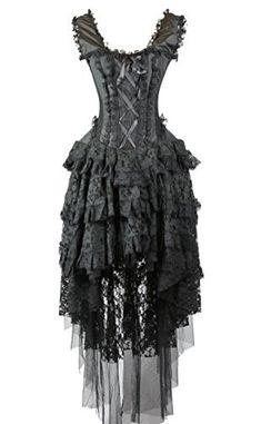 Burleska Womens Ophelie Steampunk Corset Dress (22-S, Black), Size: 22