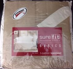 Sure Fit Furniture Cover Basics Washable Loveseat Slipcover Natural | eBay