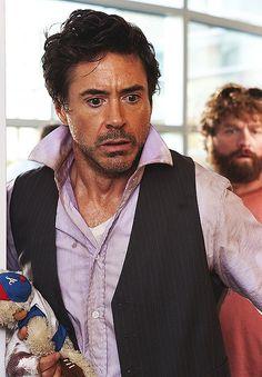 """Robert Downey Jr., """"Due Date"""" holy purple shirt iron man!!! :D"""