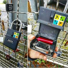 Very cool lock #geocache. I like how it blends in with the other locks on the fence, but stands out to geocachers due to the GC logo on the front.