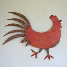 Metal wall art sculpture home decor Rooster by frivoloustendencies