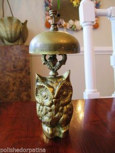 SOLD - HOLLYWOOD REGENCY MID CENTURY MODERN BRASS OWL RECEPTION DESK COUNTER HOTEL BELL