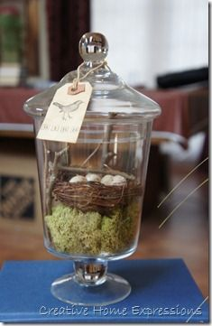 Cute little birds nest in an apothecary jar. Love the moss for extra greenery underneath!