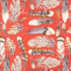Red Feather Fabric by HappySolez on Etsy, via Flickr