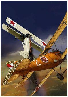 Wojna polsko - bolszewicka 1920. Albatros D.III (Oeffag.) vs SPAD VII C1 . Grafika autorstwa Andrzej Rutkowiaka