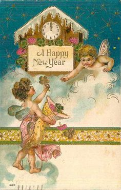 Cherubs with a clock.  Happy New Year. Vintage Card.  suzilove.com