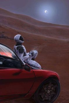 'Red Car on the Red Planet' Poster by DeLuceArt