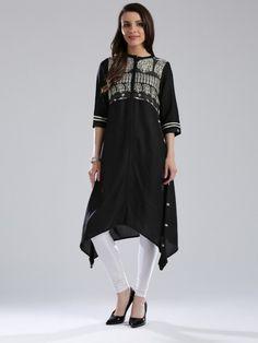 W solid black casual wear kurti - G3-WKU0063   G3fashion.com Short Kurtis, Designer Kurtis Online, Indian Fashion, Womens Fashion, Pakistani Suits, Long Blouse, Solid Black, Business Casual, Casual Wear