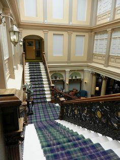 thefoodogatemyhomework: Grand staircase at the Royal Highland Hotel in Inverness, Scotland. A complete dream in blue and green tartan (and rightfully so). Thinking about going to Scotland in the Autumn. Scottish Tartans, Scottish Highlands, Scottish Plaid, Highlands Scotland, Scottish Decor, Scotland Castles, Skye Scotland, National Tartan Day, Tartan Carpet