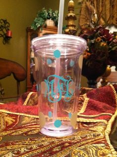 Monogrammed Cups.  Can be done in any colors.  Perfect for bridesmaids gifts.  www.facebook.com/sassydecor.andmore