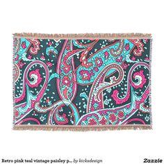 Retro pink teal vintage paisley pattern throw