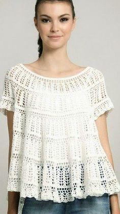 Crochet y dos agujas: Blusa romántica al crochet
