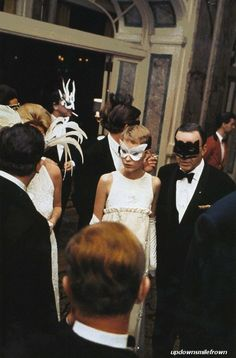 Wish I Could Wear A Mask Everyday.    Frank Sinatra and Mia Farrow at Truman Capote's Black and White Ball, New York, 1966  by Elliott Erwitt