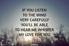 """""""If you listen to the wind very carefully, you'll be able to hear me whisper my love for you.""""  