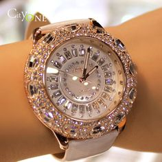 Fattina big rhinestone ring luxury fashion genuine leather ladies watch multicolor $103.90