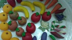 I made these marzipan fruits for my girlfriend gathering.