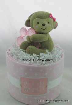 Mini diaper cake | Girl diaper cake | Baby diaper cake | Pink diaper cake | Baby shower gift | Baby shower decoration | Mom to be gift by MsCarlasBabyCakes on Etsy