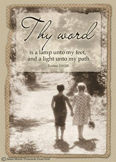 """PSALM """"Thy word is a lamp unto my feet, and a light unto my path. Thy Word, Word Of God, Christian Faith, Christian Quotes, Psalm 119 105, Favorite Bible Verses, Jesus Cristo, Bible Scriptures, Scripture Cards"""