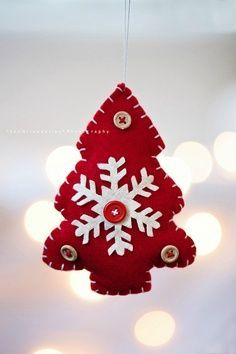 felt craft ornament, Christmas tree, snowflake