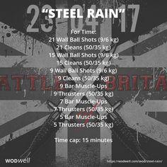 """Steel Rain"" WOD - For Time: 21 Wall Ball Shots (9/6 kg)"