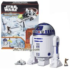 Hasbro Year 2015 Star Wars Micromachines The Force Awakens R2-D2 Playset with Chewbacca and First Order Snowspeeder with 2 Snowtrooper Microfigures