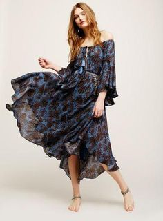 "Off The Shoulder Boho Maxi Dress ""The Island Life"" Bell Sleeves Lace Up Front Dark Blue And Black Print Sizes Small Medium Large Or Extra Large Beach Dresses, Casual Dresses, Maxi Dresses, Boho Gown, Bohemian Dresses, Calf Length Skirts, Bell Sleeve Dress, Bell Sleeves, Summer Dresses For Women"