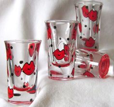 Lips Shot Glass Handpainted Kisses Smoochies by TheSpikedOlive on Etsy