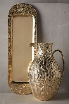 This would be so rocking filled with morning coffee for your holiday guest room!  #AnthroRegistry Aureate Plumes Serveware - anthropologie.com