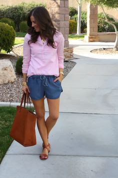 Chambray Shorts, Oxford Blouse, Spring Style, Summer Style, J.Crew, Madewell, Old Navy