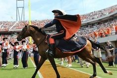 Sabre and his Cavalier rider lead the UVA football on the field to open another season
