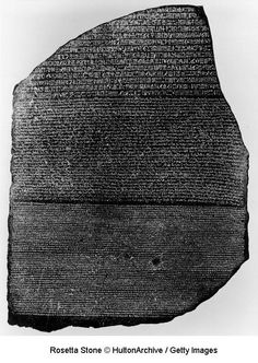 The Rosetta Stone is an ancient Egyptian granodiorite stele inscribed with a decree issued at Memphis in 196 BCE on behalf of King Ptolemy V. The decree appears in three scripts: the upper text is Ancient Egyptian hieroglyphs, the middle portion Demotic script, and the lowest Ancient Greek. Because it presents essentially the same text in all three scripts (with some minor differences between them), it provided the key to the modern understanding of Egyptian hieroglyphs.