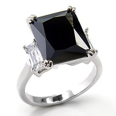 CUBIC ZIRCONIA RING - Simulated Black Diamond Radiant Cut Solitaire Baguette Sides CZ Ring | Hope Chest Jewelry