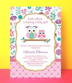 Owl Baby Shower Invitation Girl baby shower por PaperPartyDesign