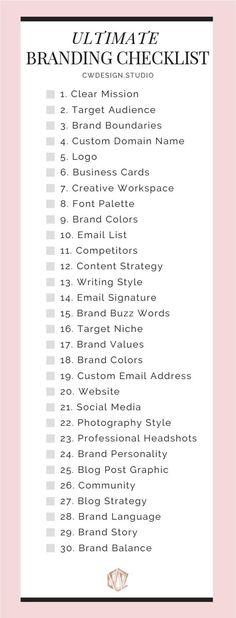 The Ultimate Branding Checklist The Ultimate Branding Checklist For Startup Busi. - The Ultimate Branding Checklist The Ultimate Branding Checklist For Startup Businesses & Entreprene - Creative Marketing, Small Business Marketing, Start Up Business, Creative Advertising, Creative Business, Content Marketing, Social Media Marketing, Affiliate Marketing, Online Marketing