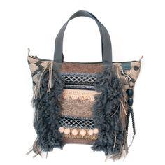 24c584e6477 Bohemian tote bag fringed in grey and beige, handmade purse western style,  OOAK handbags boho style, woman gift handmade, bags Navajo fabric