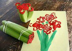 #celery #paint #red #flowers #art #craft #food