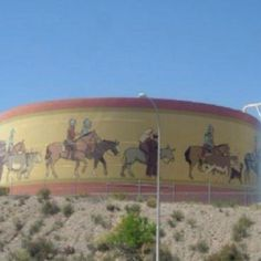 Artful water tank at Las Cruces NM. Honoring our heritage. What's on your water tank?