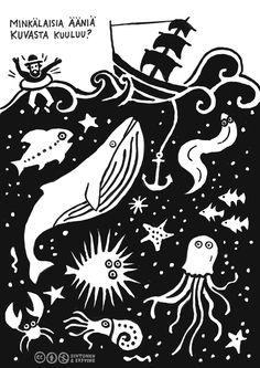Herkkien korvien tehtäväkortit. Kortti 11. Kuvassa tapahtuu paljon ja kaikenmoista. Pohtikaa ja ottakaa selvää, voiko veden alla kuulla, juttelevatko kalat ja laulavatko valaat? Lataa kaikki kortit sisältävä julkaisu parempilaatuisena Helsingin...