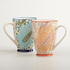 One of my favorite discoveries at WorldMarket.com: Paisley Mugs, Set of 2