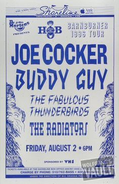 Joe Cocker Vintage Concert Poster from Shoreline Amphitheatre (Mountain View, CA), Aug 1996 Jazz Artists, Music Artists, Vintage Concert Posters, Jazz Poster, Buddy Guy, Concert Flyer, Joe Cocker, Band Posters, Poster