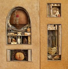 False floors, hidden drawers, shrines, and niches are all possible in this class that builds a home and journal for the small objects and stories we need to keep close...Would love to take this workshop Sandy Webster via Shakerag Workshops #books #collage