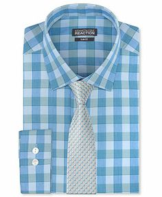 Kenneth Cole Reaction Slim-Fit Large Pool Blue Check Dress Shirt & Moonlight Square Slim Tie