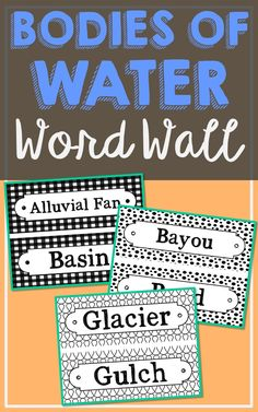 Bodies of Water Science Vocabulary Word Wall. Each of the 56 Bodies of Water terms has been created in black and white for super easy printing. It's easy to make them stand out with your choice of colored paper. So many uses for these!