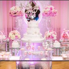 Princess pink winter wonderland baby shower party! See more party ideas at CatchMyParty.com!