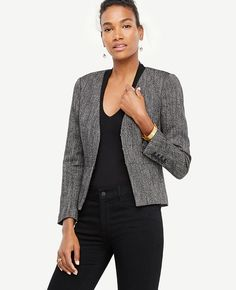 Shop Ann Taylor for effortless style and everyday elegance. Our Herringbone Peplum Jacket is the perfect piece to add to your closet. A Line Skirt Outfits, A Line Skirts, Petite Suits, Herringbone Jacket, Cute Blazers, Stitch Fit, Peplum Jacket, Power Dressing, Work Fashion