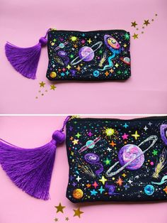 crochetbycalla: sosuperawesome: Embroidered Universe Purses, UFO Pins and Beaded. crochetbycalla: sosuperawesome: Embroidered Universe Purses, UFO Pins and Beaded Jupiter Bag, by Oliness Art Studio on E. Embroidery Bags, Beaded Embroidery, Cross Stitch Embroidery, Embroidery Patterns, Sewing Patterns, Sewing Studio, Diy Fashion, Fashion Sewing, Fashion Tag