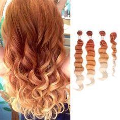 4 Bundles Ombre Dye Light Auburn To Bleach Blonde Full Head Weft Hair Extensions