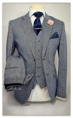 Mens 3 Piece Tweed Navy Grey Suit Party Prom Tailored Smart Wedding | eBay